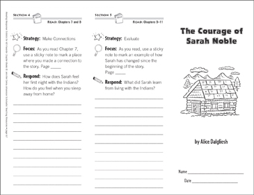 The Courage of Sarah Noble (Level O): Reading Response Trifold - Printable Worksheet