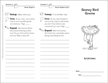 Gooney Bird Greene (Level O): Reading Response Trifold - Printable Worksheet