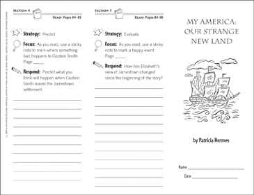 My America: Our Strange New Land (Level O): Reading Response Trifold - Printable Worksheet