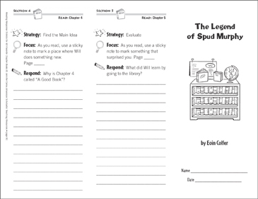 The Legend of Spud Murphy (Level P): Reading Response Trifold - Printable Worksheet