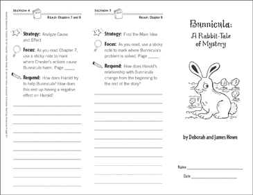 Bunnicula: A Rabbit-Tale of Mystery (Level Q): Reading Response Trifold - Printable Worksheet