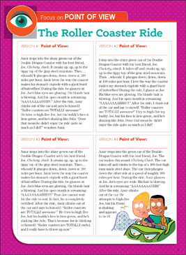 The Roller Coaster Ride: Literary Element, Point of View - Printable Worksheet
