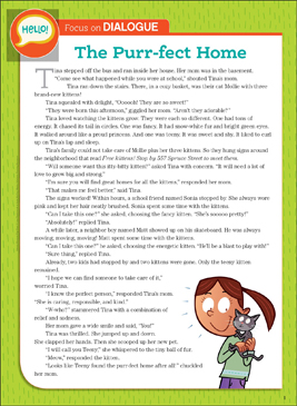 The Purr-fect Home: Literary Element, Dialogue - Printable Worksheet
