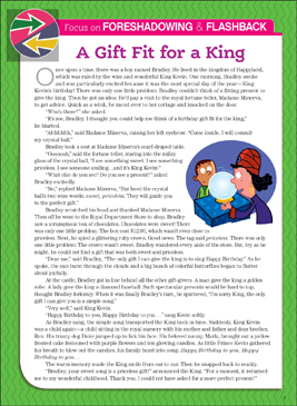 A Gift Fit for a King: Literary Element, Foreshadowing & Flashback - Printable Worksheet
