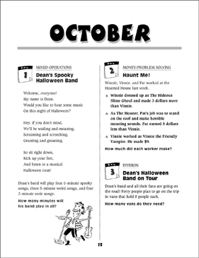 October Math Story Problems - Printable Worksheet