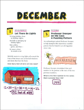 December Math Story Problems - Printable Worksheet