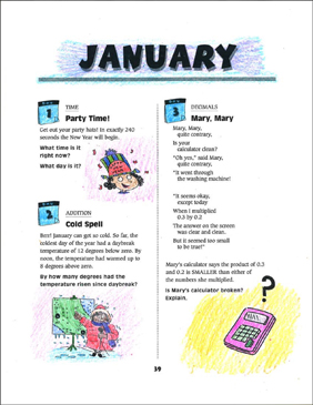 January Math Story Problems - Printable Worksheet