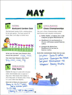 May Math Story Problems - Printable Worksheet