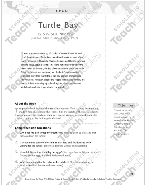 Japan Turtle Bay By Saviour Pirotta Printable Lesson Plans Ideas. See Inside. Worksheet. Japan Reading Prehension Worksheet At Mspartners.co