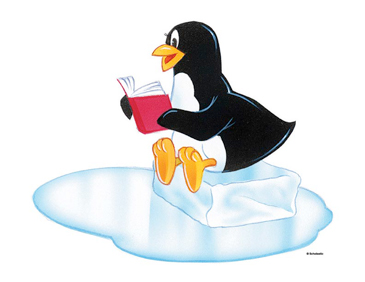Penguin Reading - Image Clip Art