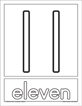 The Number Eleven: Number Recognition Cards - Printable Worksheet
