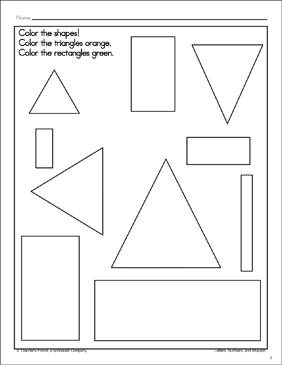 Triangles and Rectangles: Shape and Word Recognition Page - Printable Worksheet
