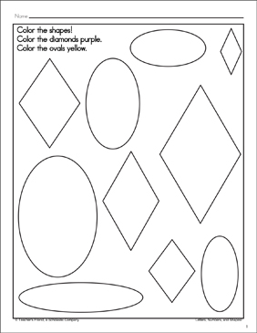 Diamonds and Ovals: Shape and Word Recognition Page - Printable Worksheet