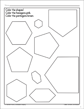 Hexagons and Pentagons: Shape and Word Recognition Page - Printable Worksheet