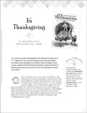 Teaching With It's Thanksgiving by Jack Prelutsky - Printable Worksheet