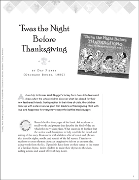 Teaching With 'Twas the Night Before Thanksgiving by Dav Pilkey - Printable Worksheet