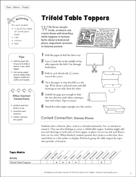 Trifold Table Toppers: Social Studies Activity - Printable Worksheet