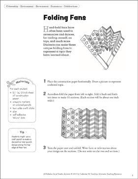 Folding Fans: Social Studies Activity - Printable Worksheet