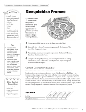 Recyclables Frames: Social Studies Activity - Printable Worksheet