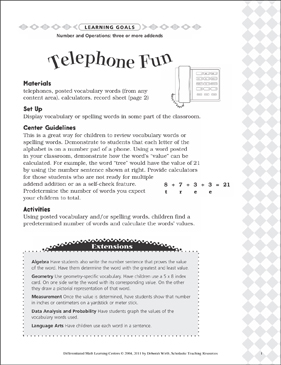 Telephone Fun (Three or More Addends): Differentiated Math Learning Center - Printable Worksheet