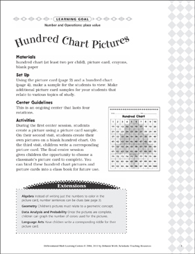 Hundred Chart Pictures (Place Value): Differentiated Math Learning Center - Printable Worksheet