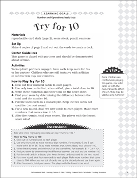 Try for 10 (Basic Facts): Differentiated Math Learning Center - Printable Worksheet