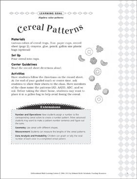 Cereal Patterns (Color Patterns): Differentiated Math Learning Center - Printable Worksheet