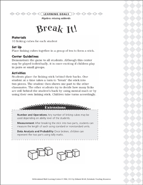 Break It! (Missing Addends): Differentiated Math Learning Center - Printable Worksheet