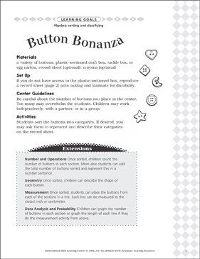 Button Bonanza (Sorting and Classifying): Differentiated Math Learning Center - Printable Worksheet