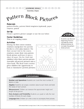 Pattern Block Pictures (Shapes): Differentiated Math Learning Center - Printable Worksheet