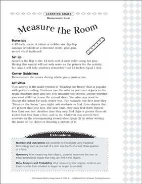 Measure the Room (Linear): Differentiated Math Learning Center - Printable Worksheet