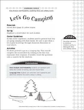 Let's Go Camping (Predicting Likely and Unlikely Events): Differentiated Math Learning Center - Printable Worksheet