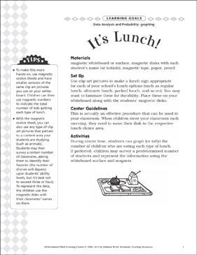 It's Lunch (Graphing): Differentiated Math Learning Center - Printable Worksheet