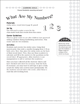 What Are My Numbers? (Reasoning and Proof): Differentiated Math Learning Center - Printable Worksheet