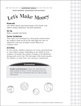 Let's Make Money (Representation and Connections): Differentiated Math Learning Center - Printable Worksheet