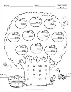 Long Vowel A E Phonics Tree Printable Skills Sheets