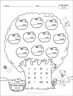 Long Vowel (o_e): Phonics Tree - Printable Worksheet