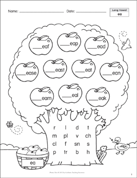 Long Vowels Ea Ee Phonics Tree Printable Skills Sheets
