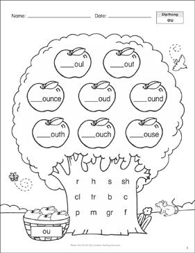 Diphthong (ou): Phonics Tree   Printable Skills Sheets