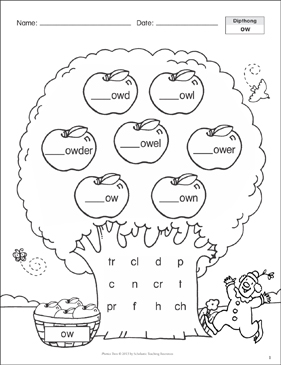 Diphthong (ow, ou): Phonics Tree   Printable Skills Sheets