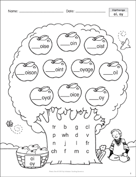 Diphthong (oi, oy): Phonics Tree - Printable Worksheet