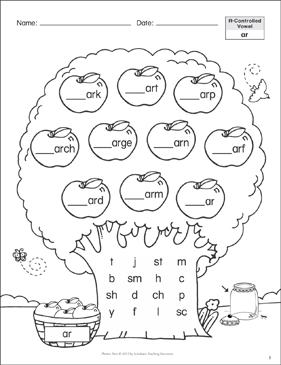 R-Controlled Vowel (ar): Phonics Tree - Printable Worksheet
