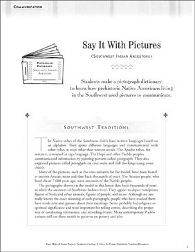 Say It With Pictures: Southwest Indians Communication - Printable Worksheet