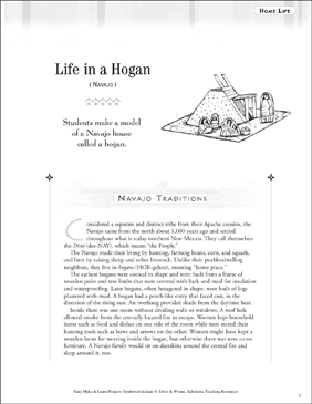 Life in a Hogan: Navajo Home Life - Printable Worksheet