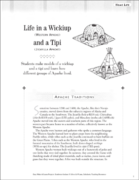 Life in a Wickiup and a Tipi: Apache Home Life - Printable Worksheet