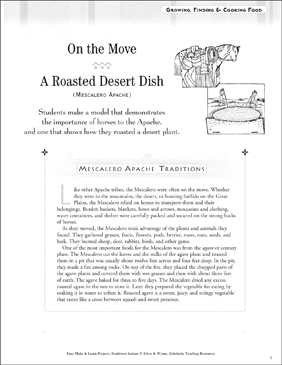 On the Move, A Roasted Desert Dish: Mescalero Apache Life - Printable Worksheet