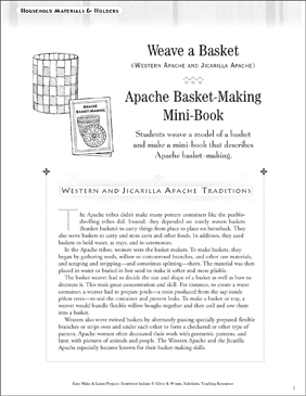 Apache Basket-Making Mini-Book: Apache Life - Printable Worksheet