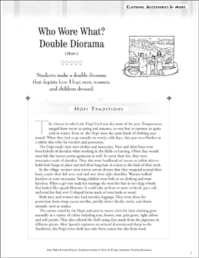 Who Wore What? Double Diorama: Hopi Clothing - Printable Worksheet