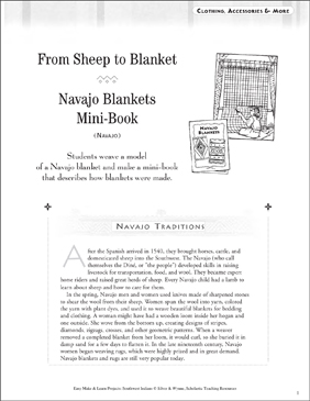 From Sheet to Blanket and Navajo Blankets - Printable Worksheet
