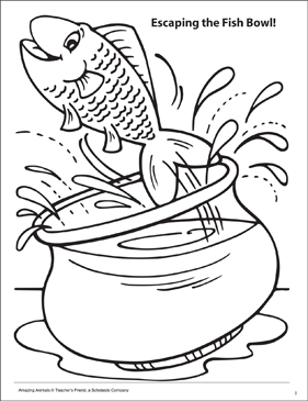 Escaping the Fish Bowl! Amazing Animals Coloring Page - Printable Worksheet